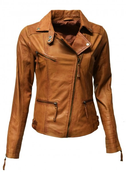 "Damen Biker Lederjacke ""SU"" in washed Cognac"
