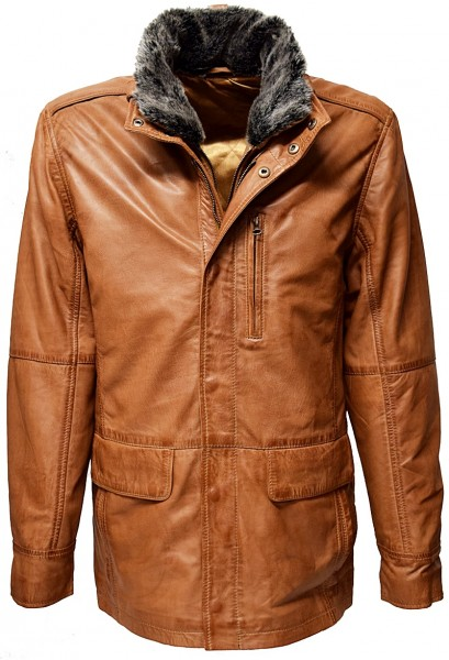 "Herren Long Lederjacke ""EDDI"" in washed Cognac"