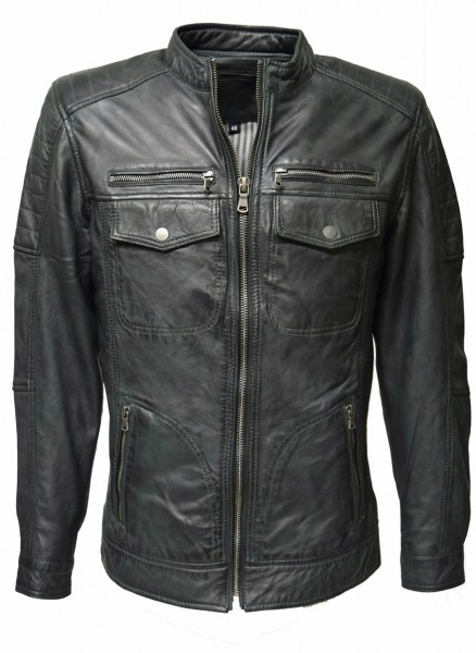 Herren Lederjacke Ray washed Dark Grey