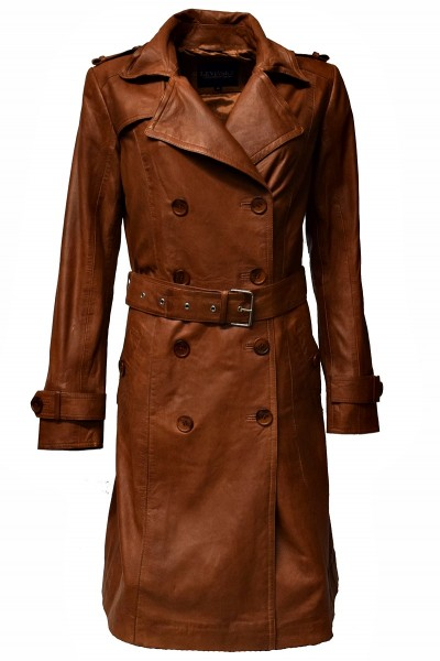 Damen Trench Ledermantel Tilly in fine Braun