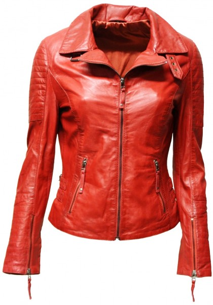 "Damen Lederjacke ""Kate"" gesteppt washed Rot"