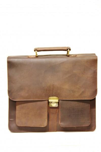 """Aktentasche mit 15"""" Laptopfach aus Vintage Leder in Naturbraun"""