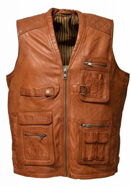 "Herren Outdoor Lederweste ""Nilo"" in Cognac"