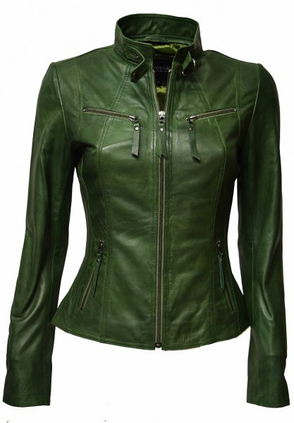 "Damen Lederjacke ""P-14-01"" washed Grün"