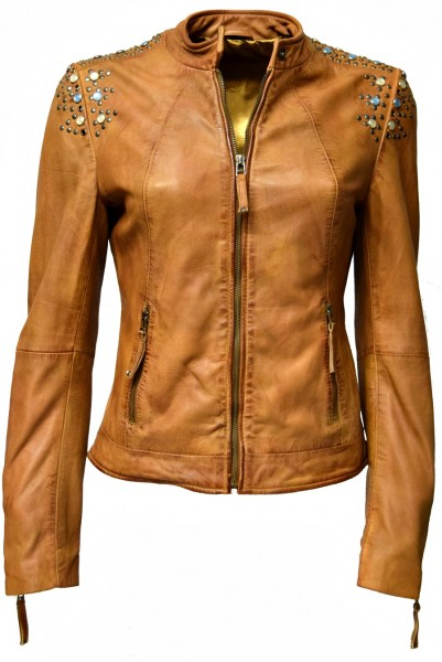 "Damen Lederjacke ""ZOE"" in washed Cognac"
