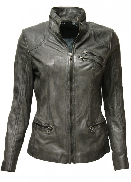 "Damen Lederjacke ""FINE"" in washed Dunkelgrau"