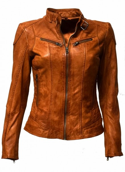 "Damen Lederjacke ""Frida"" in washed Cognac"
