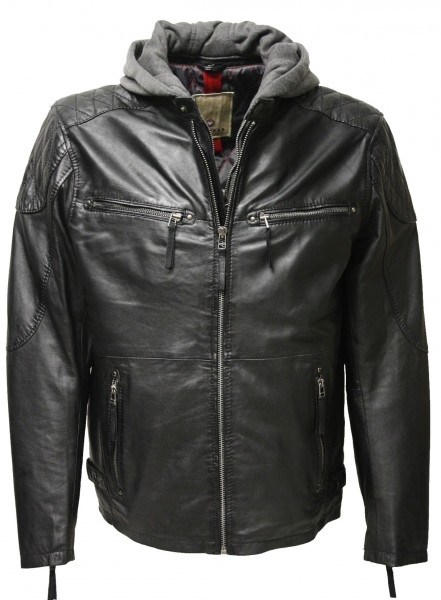 "Trapper Herren Lederjacke ""BAYRON"" in washed Schwarz"