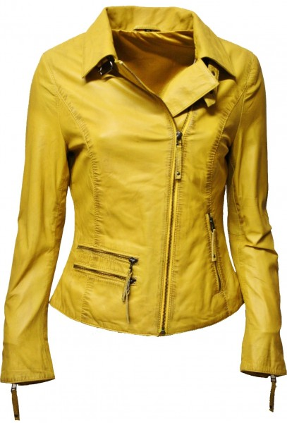 "Damen Lederjacke ""EFI"" in washed Gelb"