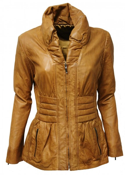"Damen Lederjacke ""SAMIRA"" in washed Cognac"
