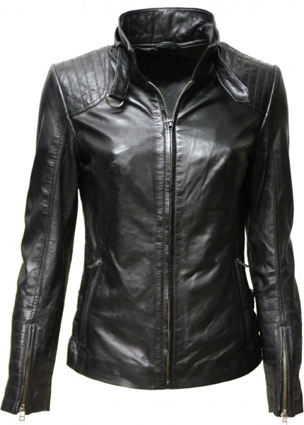"Damen Lederjacke ""Topsy"" in washed schwarz"