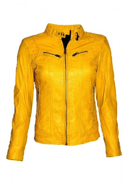 Damen Lederjacke Frida in washed Gelb-Mais