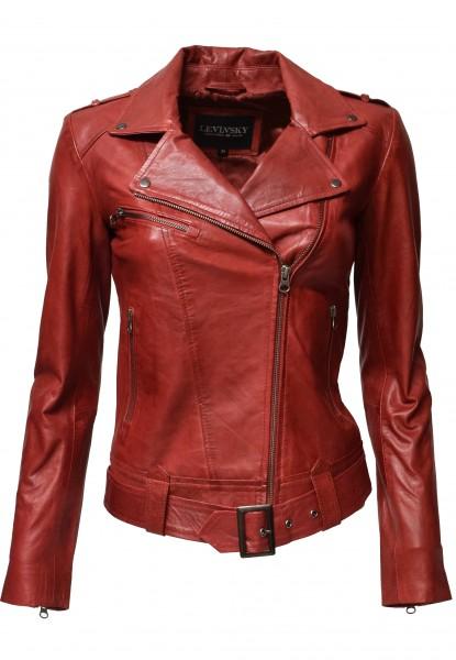 "Damen Biker Lederjacke ""Fame"" in Rot"