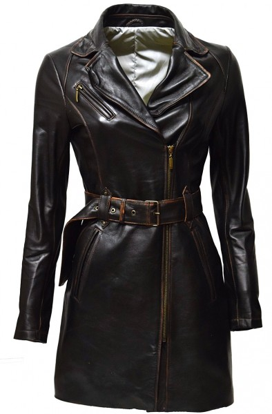 "Damen Biker Ledermantel ""UNA"" in alligator Schwarz"