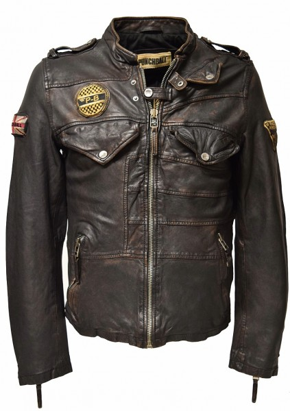 "Punchball Herren Lederjacke ""Norton"" in washed Charcoal"