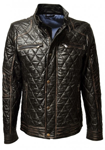 "Herren Stepp- Lederjacke ""Bruce"" in alligator Schwarz"