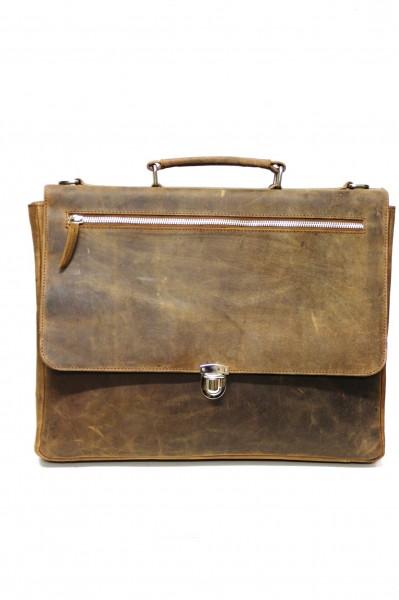 Aktentasche im großen Format aus Vintage Leder in Naturbraun