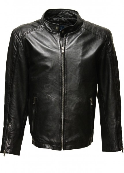 "Herren Lederjacke ""COLIN"" in washed Schwarz"