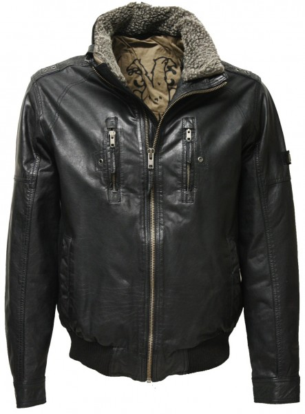 "Trapper Herren Lederjacke ""Conway"" in washed Schwarz"