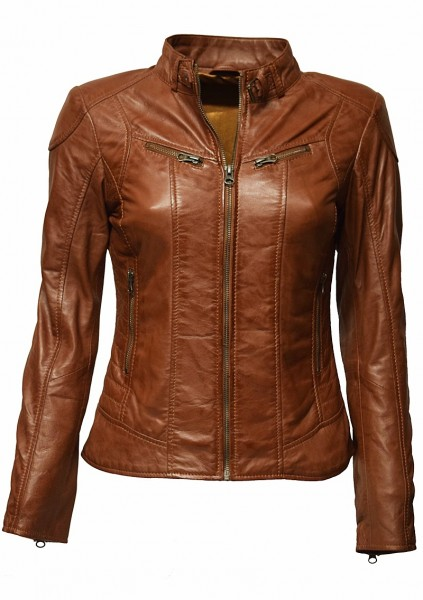 "Damen Lederjacke ""Frida"" in washed Whisky"