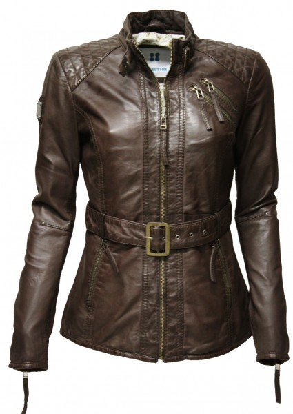 "Damen Lederjacke ""LINSEY"" in washed Moccabraun"