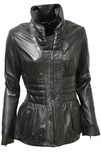 "Damen Lederjacke ""SAMIRA"" in washed schwarz"