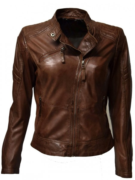 "Damen Lederjacke ""Wikki"" in washed Maroone"