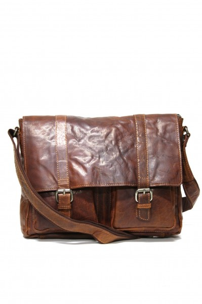 Spikes & Sparrow Laptop Messenger im Vintage Leder in Brandy