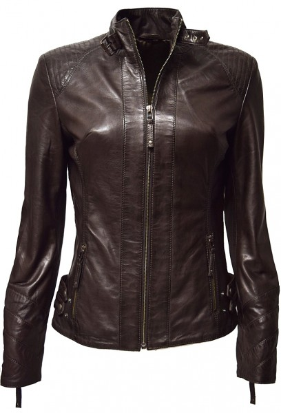 "Damen Lederjacke ""Liane"" in washed Dunkelbraun"
