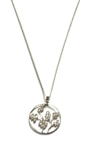 Halskette aus 925er Silber mit einem Blumen- Laser- Cut Anhänger