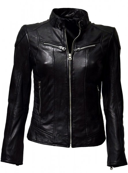 "Damen Lederjacke ""Frida"" in Schwarz"