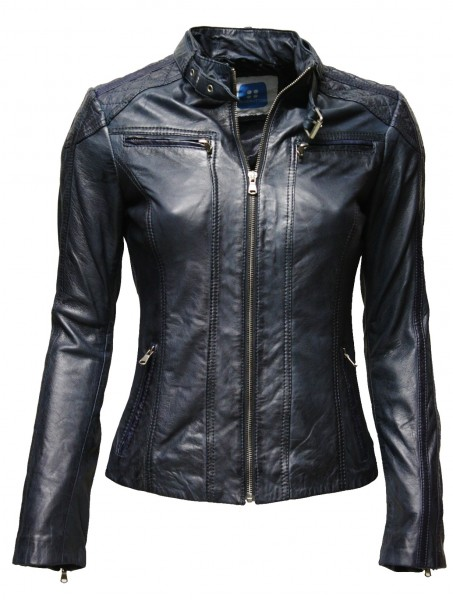 "Damen Lederjacke ""WISH"" in Dunkelblau"