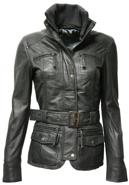 "Damen Lederjacke ""Paula"" mit Strick in washed Dunkelgrau"