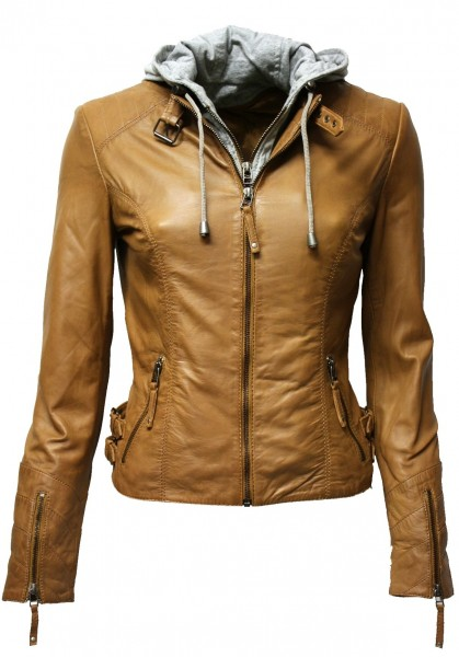 "Damen Lederjacke ""Kitty"" in washed Cognac mit Kapuze"