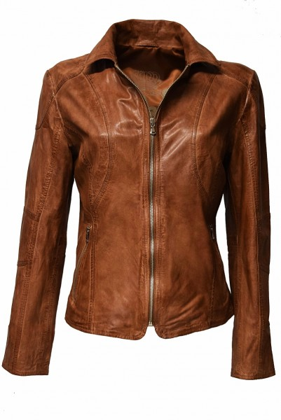 Damen Lederjacke Finja in washed Whiskey