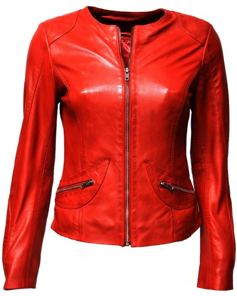 "Damen Lederjacke ""BEA"" in washed Rot"