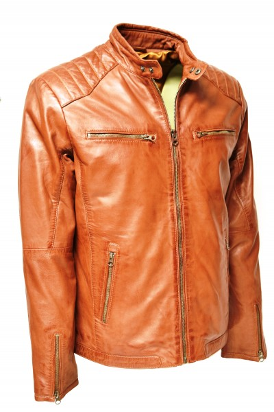 Herren Lederjacke Toni in washed Cognac