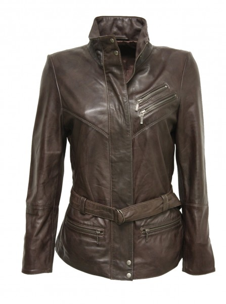 "Damen Lederjacke ""JOSEFINE"" in washed Braun"