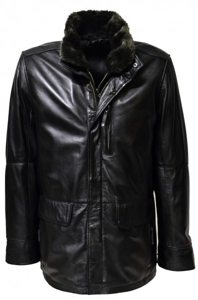"Herren Long Lederjacke ""EDDI"" in washed Schwarz"