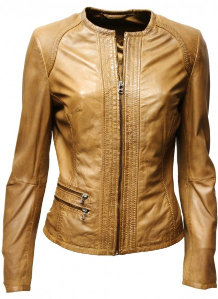"Damen Lederjacke ""LINA"" in washed Cognac"