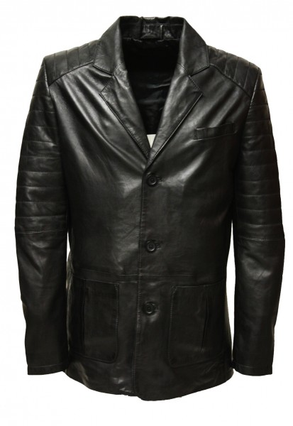 "Herren Ledersakko ""BRADDLEY"" in washed Schwarz"