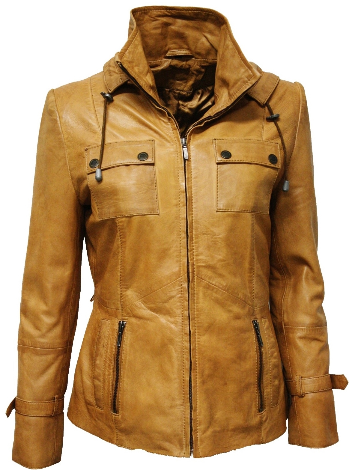 Damen Lederjacke Clara In Washed Cognac Leder2000