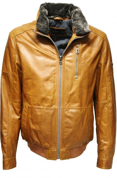 "Trapper Herren Lederjacke ""Arizona"" in washed Cognac"
