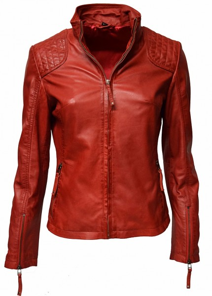 "Zimmert Damen Lederjacke ""Mina"" in washed Rot"