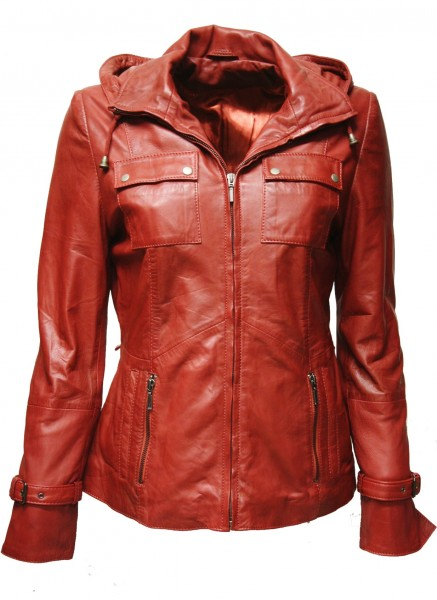 "Damen Lederjacke ""CLARA"" in washed Rot"