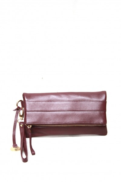 Masquenada Clutch aus Kalbsleder in Bordo