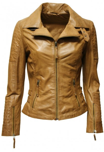 "Damen Lederjacke ""Kate"" gesteppt washed Cognac"