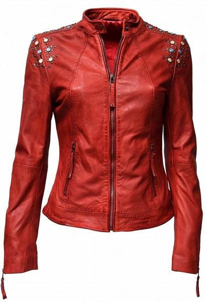 "Damen Lederjacke ""ZOE"" in washed Rot"