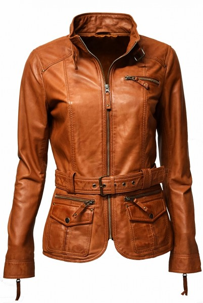 "Damen Lederjacke ""MELLY"" in washed Dunkelcognac"