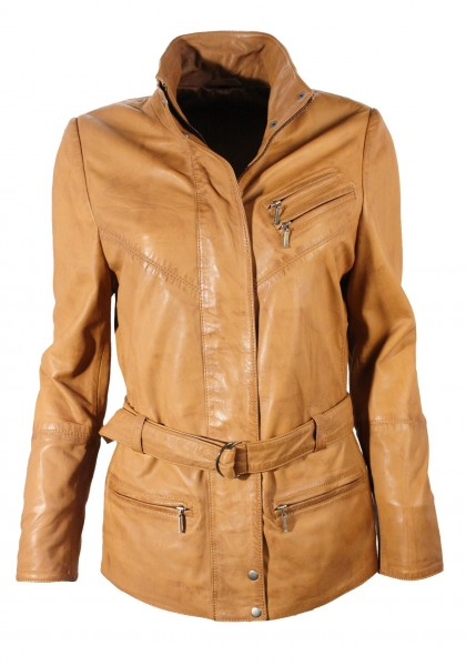 "Damen Lederjacke ""JOSEFINE"" in washed Cognac"
